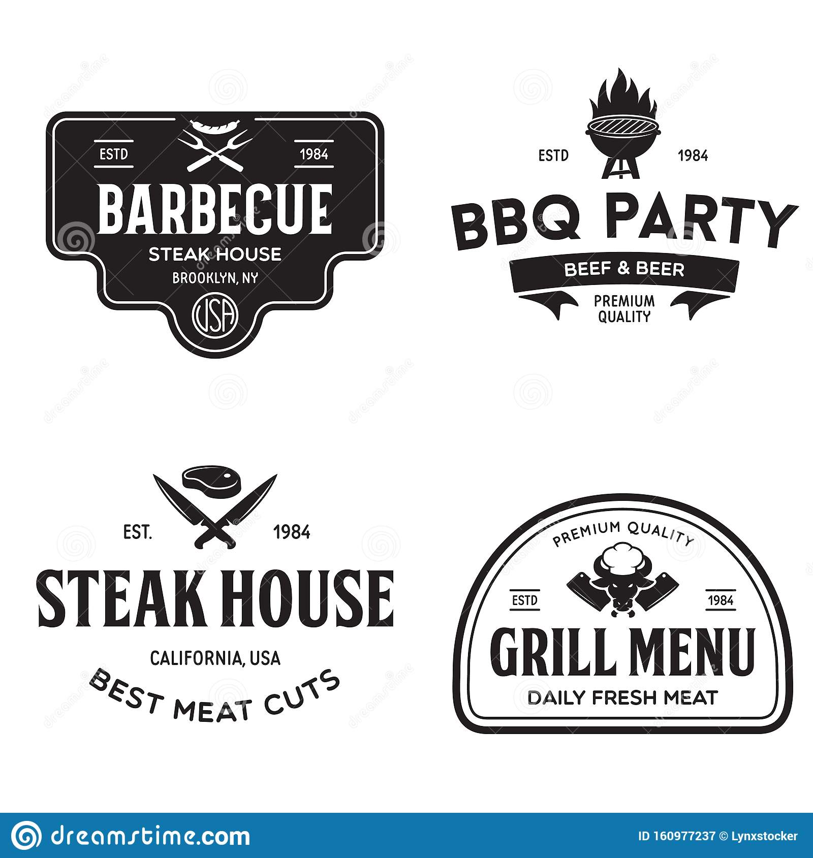 Steak House Barbecue Bbq Party Restaurant Logo Templates Collection Elements For Grill Menu Design Stock Illustration Illustration Of Cook Food 160977237