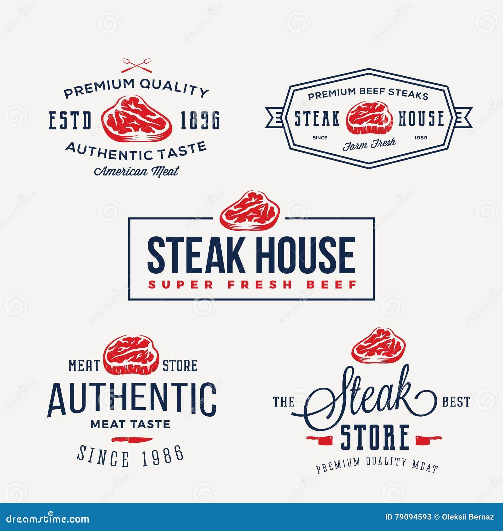 Steak House or Meat Store Vintage Typography Labels, Emblems, Logo Templates. Signs Set.