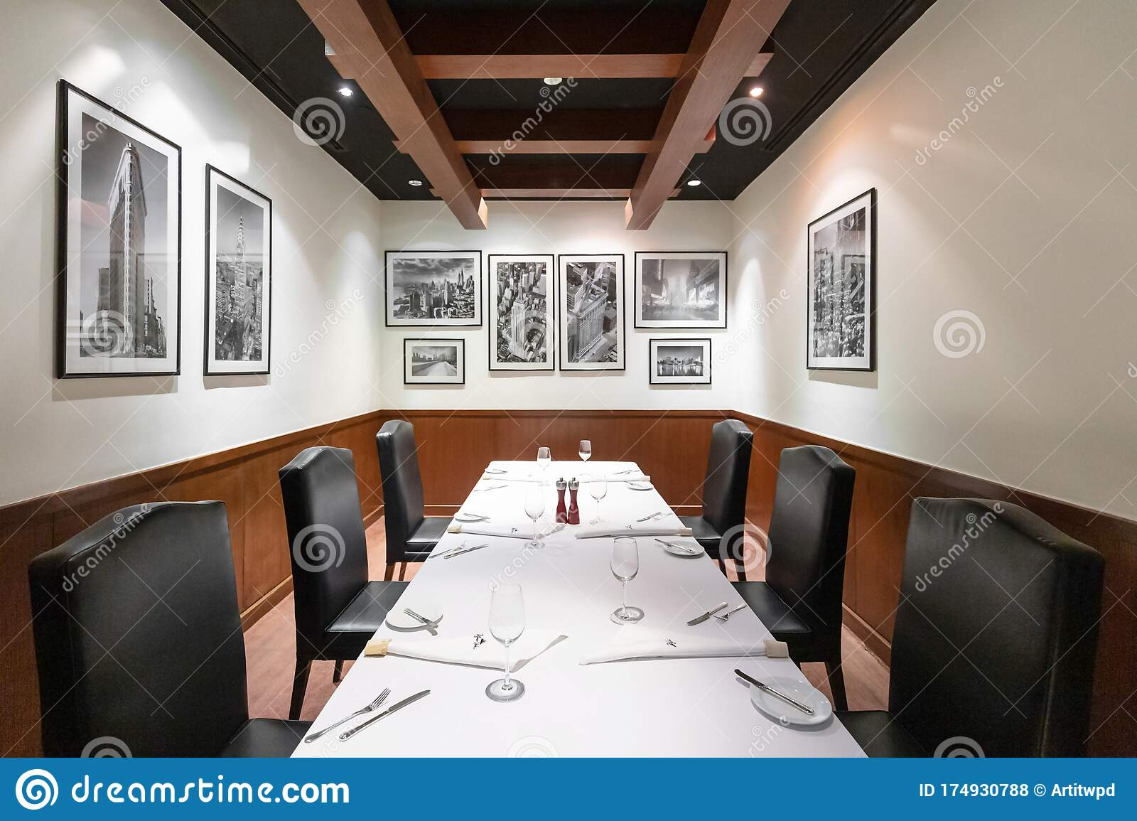 Steak House Restaurant Interior Design With Contemporary Luxury Furniture In New York Style Elegant Black Leather Chairs Editorial Stock Photo Image Of Club Furniture 174930788