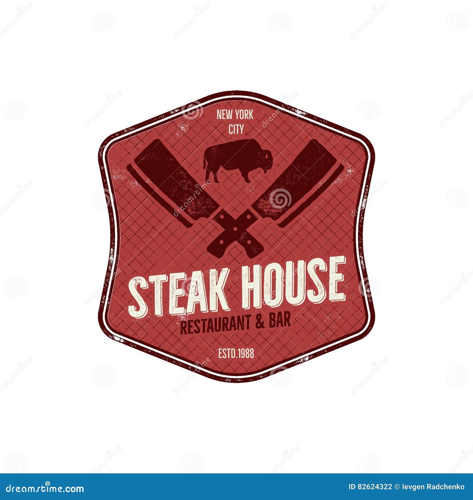 Steak House vintage Label. Typography letterpress design. Vector steak house retro logo. Included bbq grill symbols for
