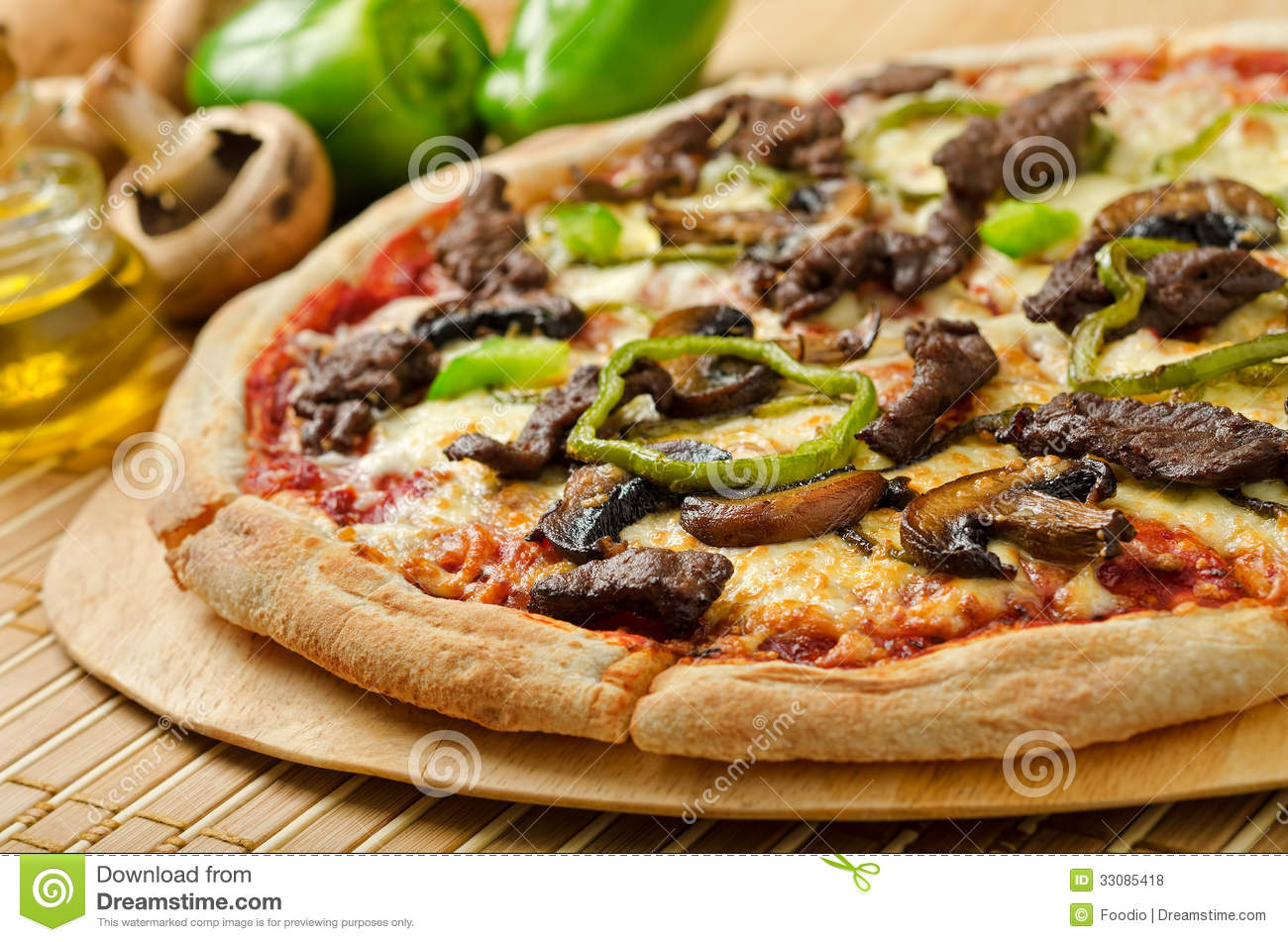 steak and mushroom pizza stock photo image of lunch 33085418. Black Bedroom Furniture Sets. Home Design Ideas