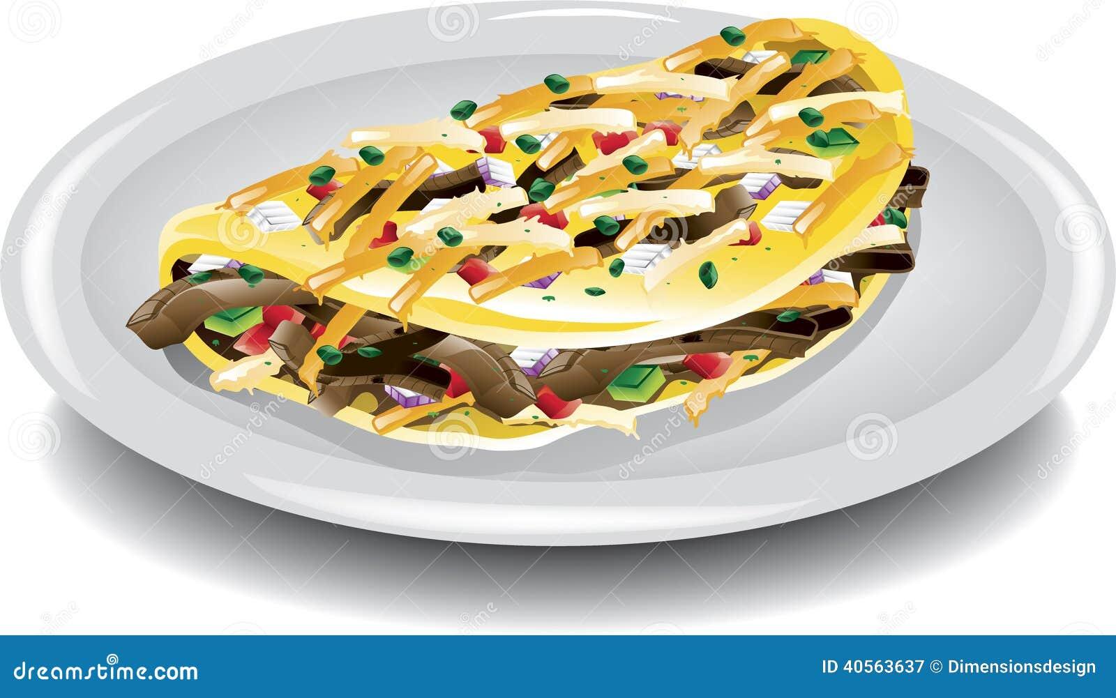 Steak Omelet stock vector. Image of tomato, omelette ...
