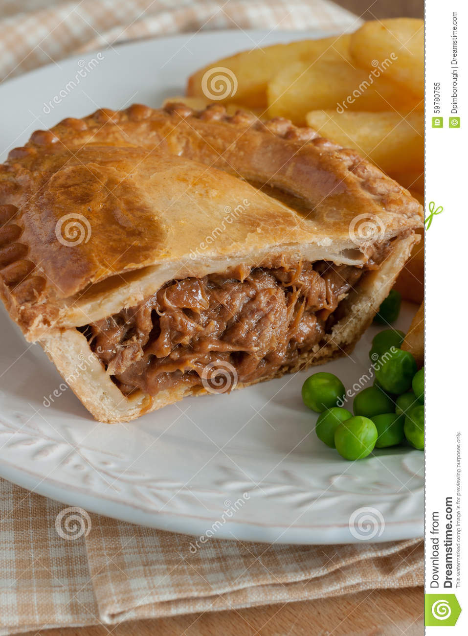Steak Pie Chips and Peas stock image. Image of french ...