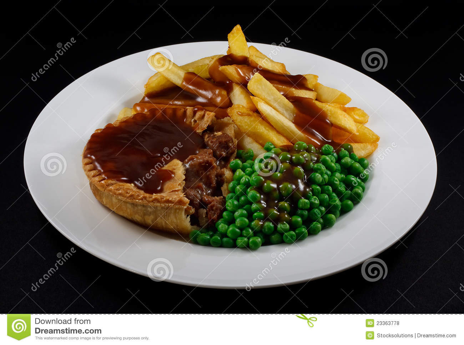 Steak Pie, Fries, Peas And Gravy Royalty Free Stock Photos ...