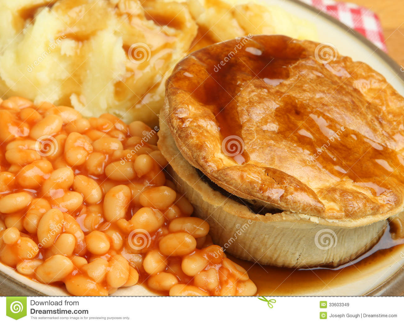 Steak Pie With Mash And Baked Beans Stock Image - Image of ...