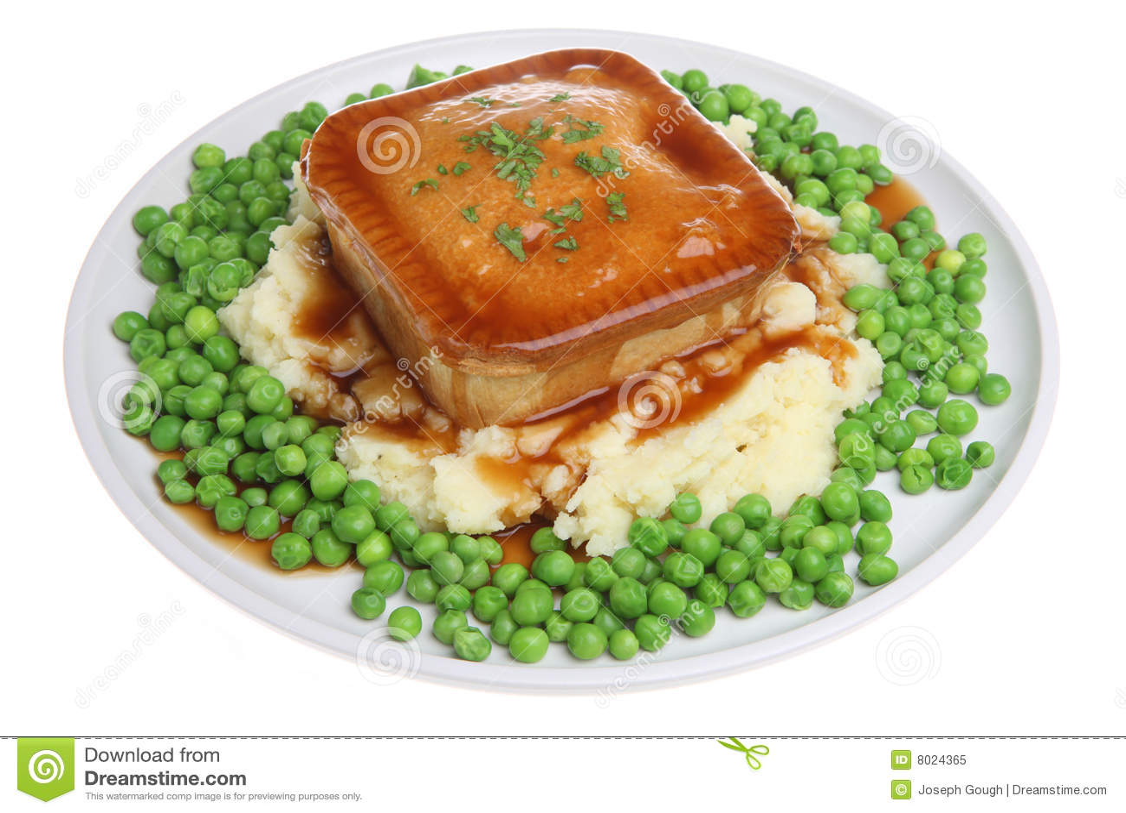 Steak Pie, Mash & Peas stock image. Image of closeup ...