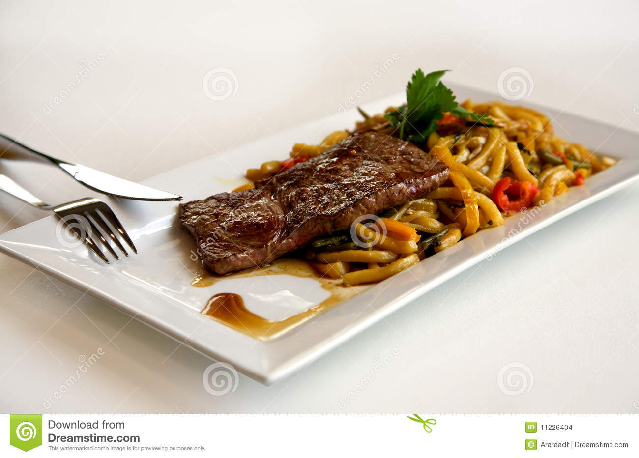 Steak on plate stock photo. Image of meat, fork, baked ...