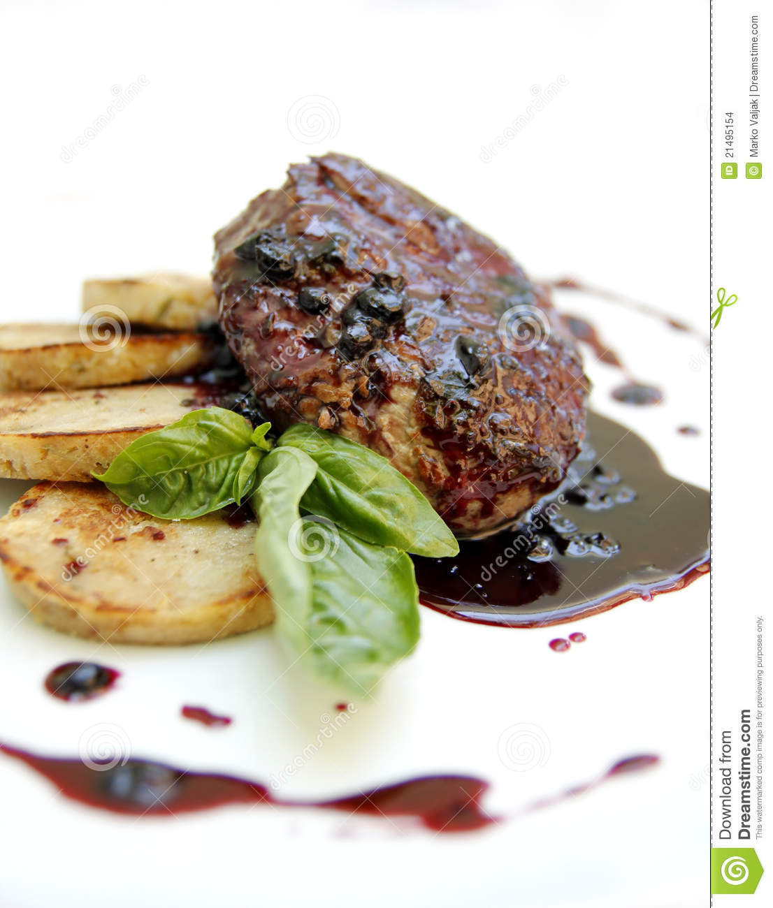 Steak On Plate Stock Images - Image: 21495154