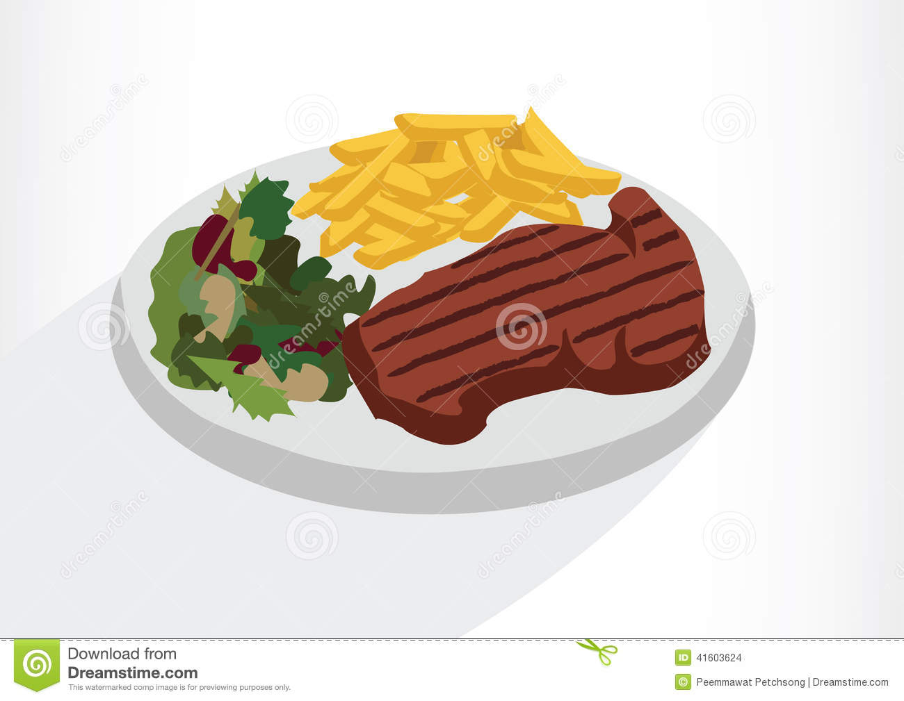 Steak With Salad And French Fries On A Plate.Vector ...