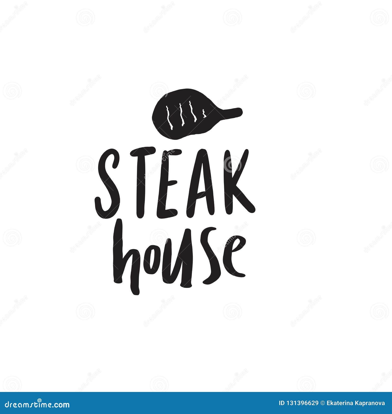Steakhaus Lustige Handgezogenes Logo Illustration des Steaks ENV 10