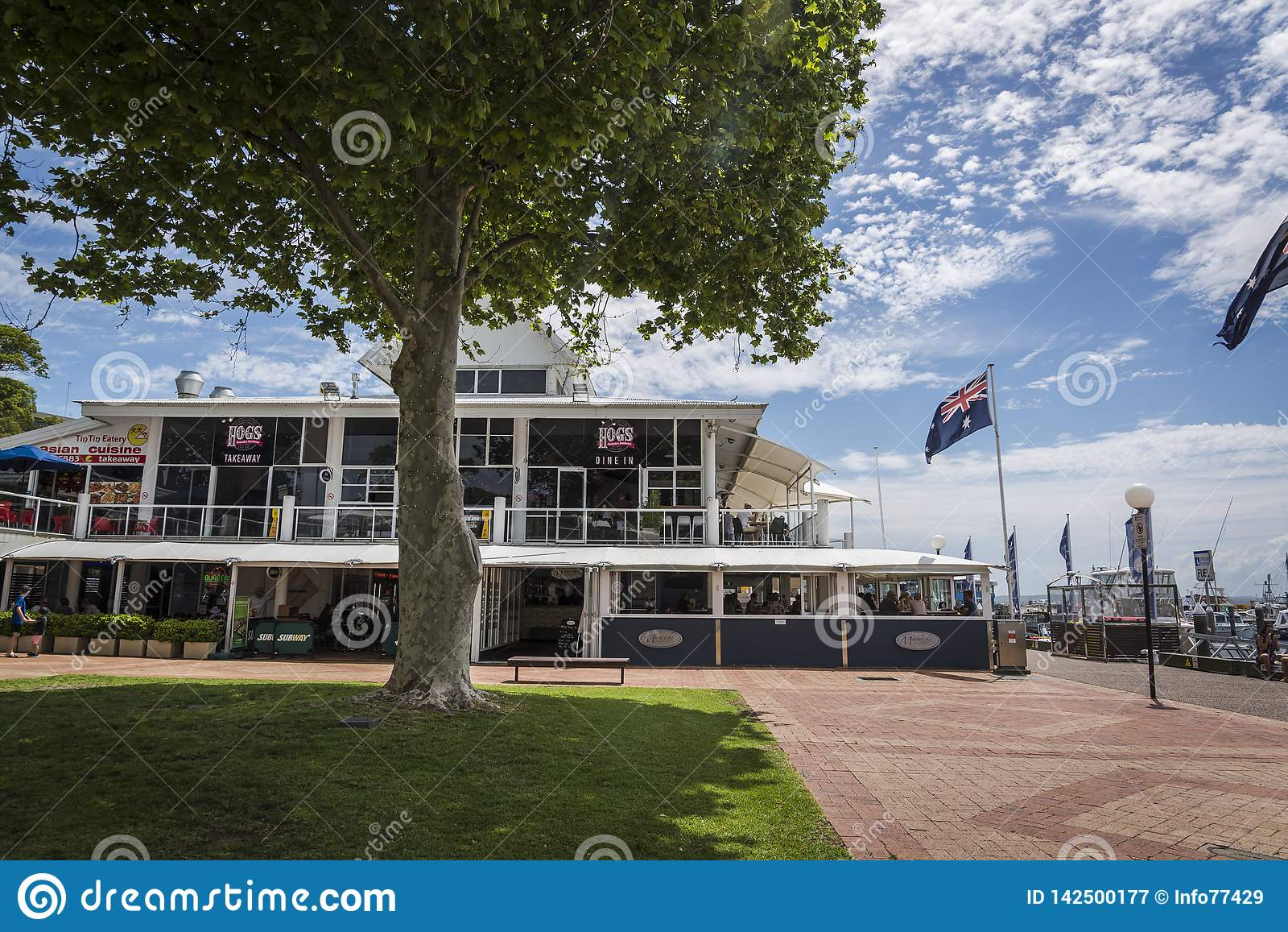Steakhouse van Australië van het varken, Nelson Bay, NSW, Australië