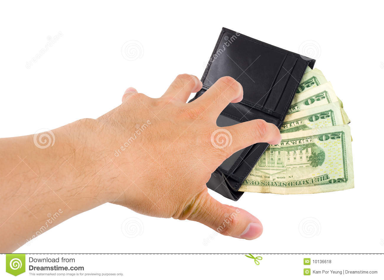 hand stealing money from a wallet on white with clipping path.