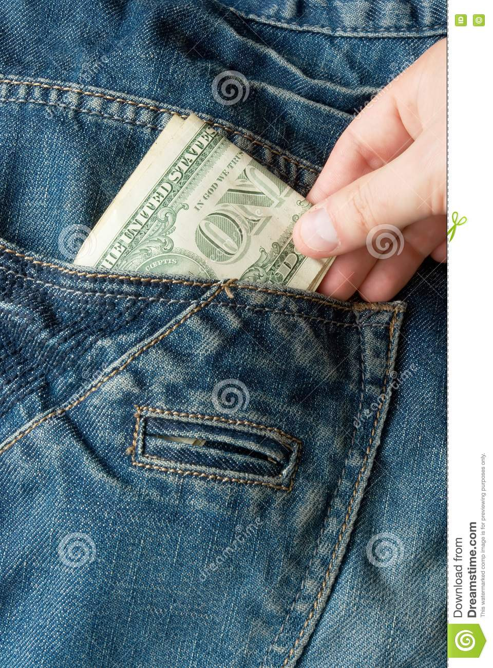Stealing Money From Jeans Pocket Stock Photography - Image ...