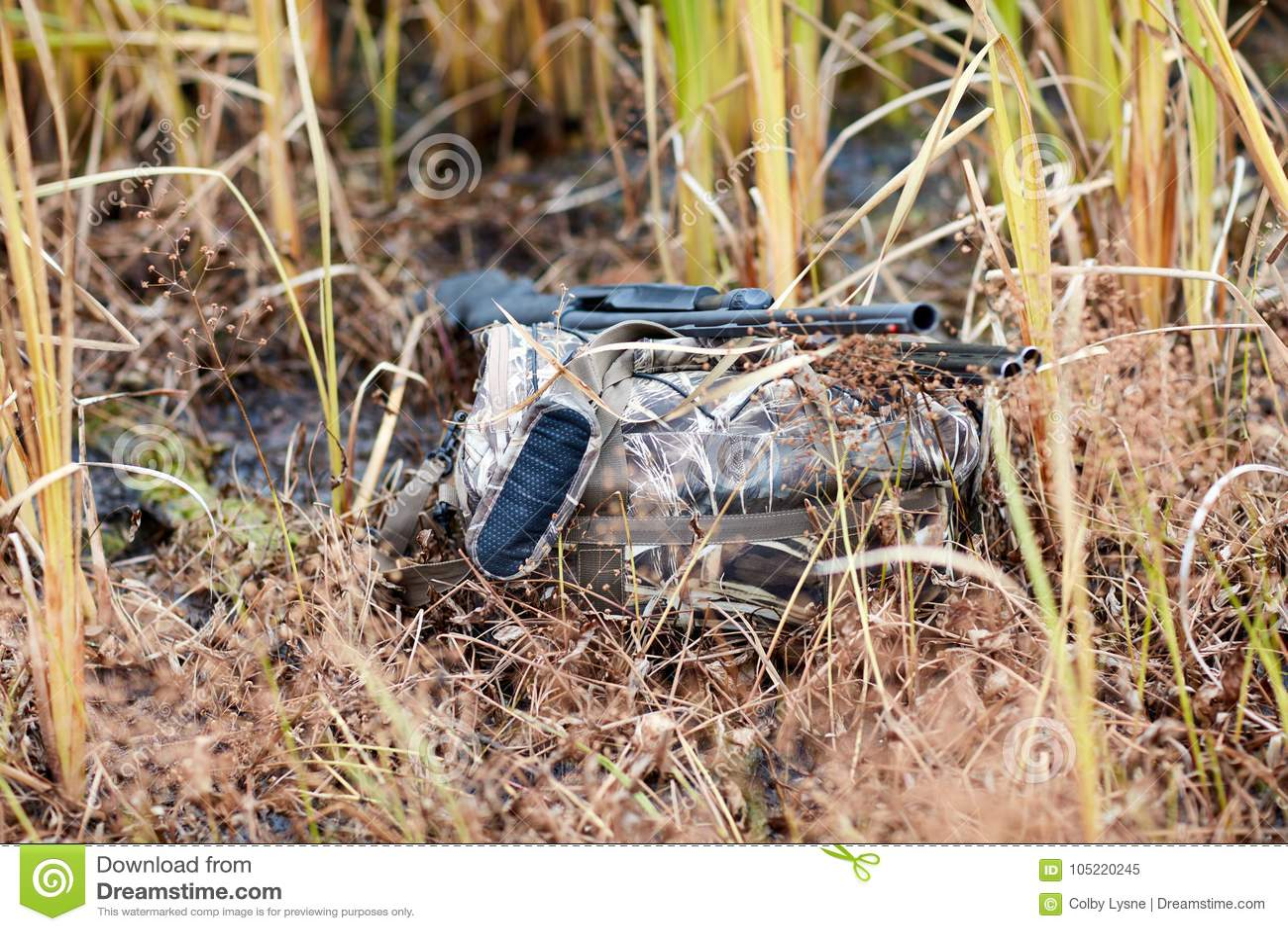 Stealthy duck hunter hidden among swamp plants