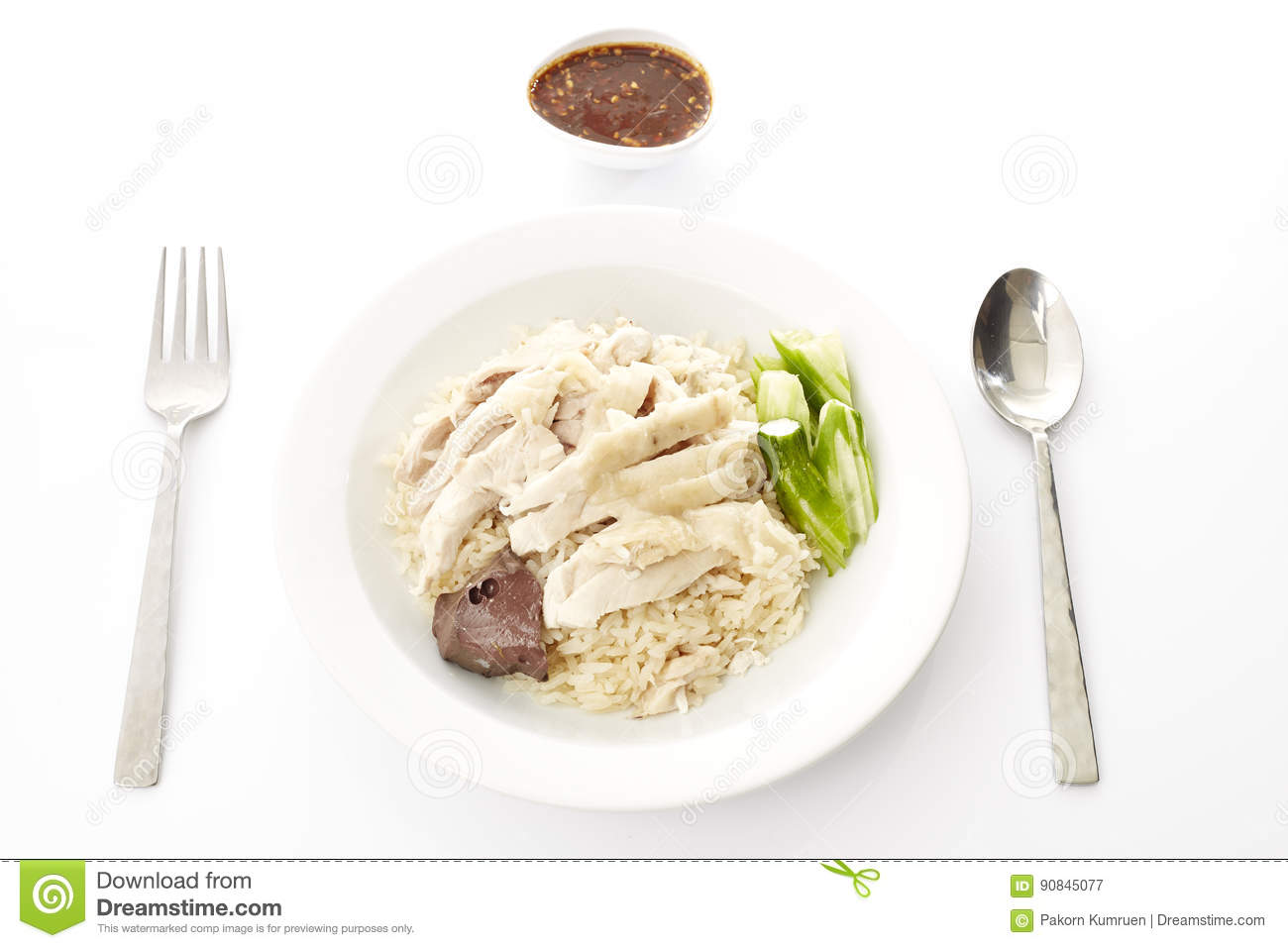 Steam Chicken With Rice Stock Image Image Of Color Gourmet
