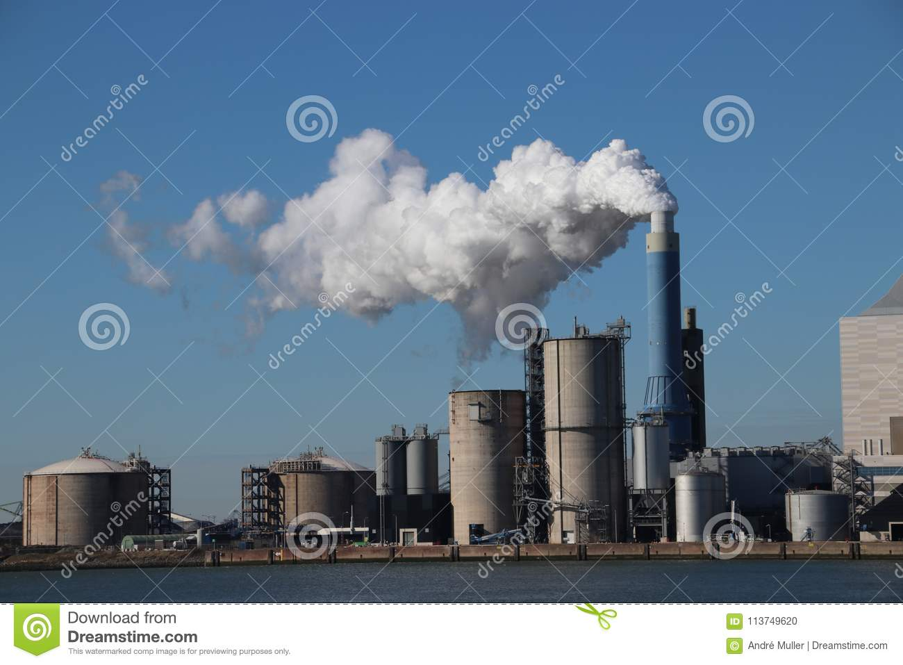 Download Steam Coming Out Of The Chimney At Power Plant In Rotterdam Maas Stock Photo - Image of rotterdam, maasvlakte: 113749620