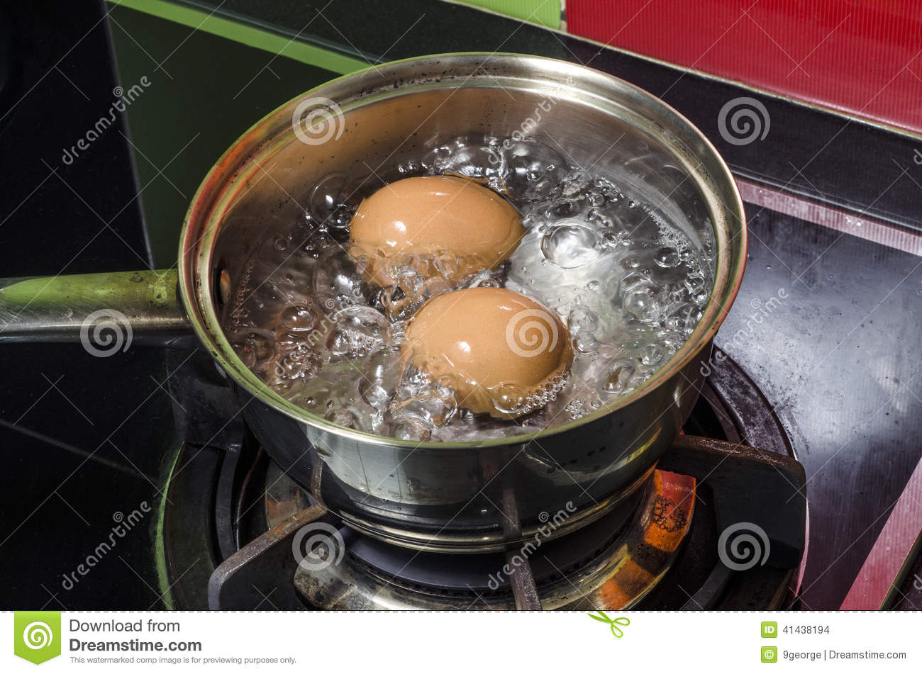 Steam, eggs and boiling water.