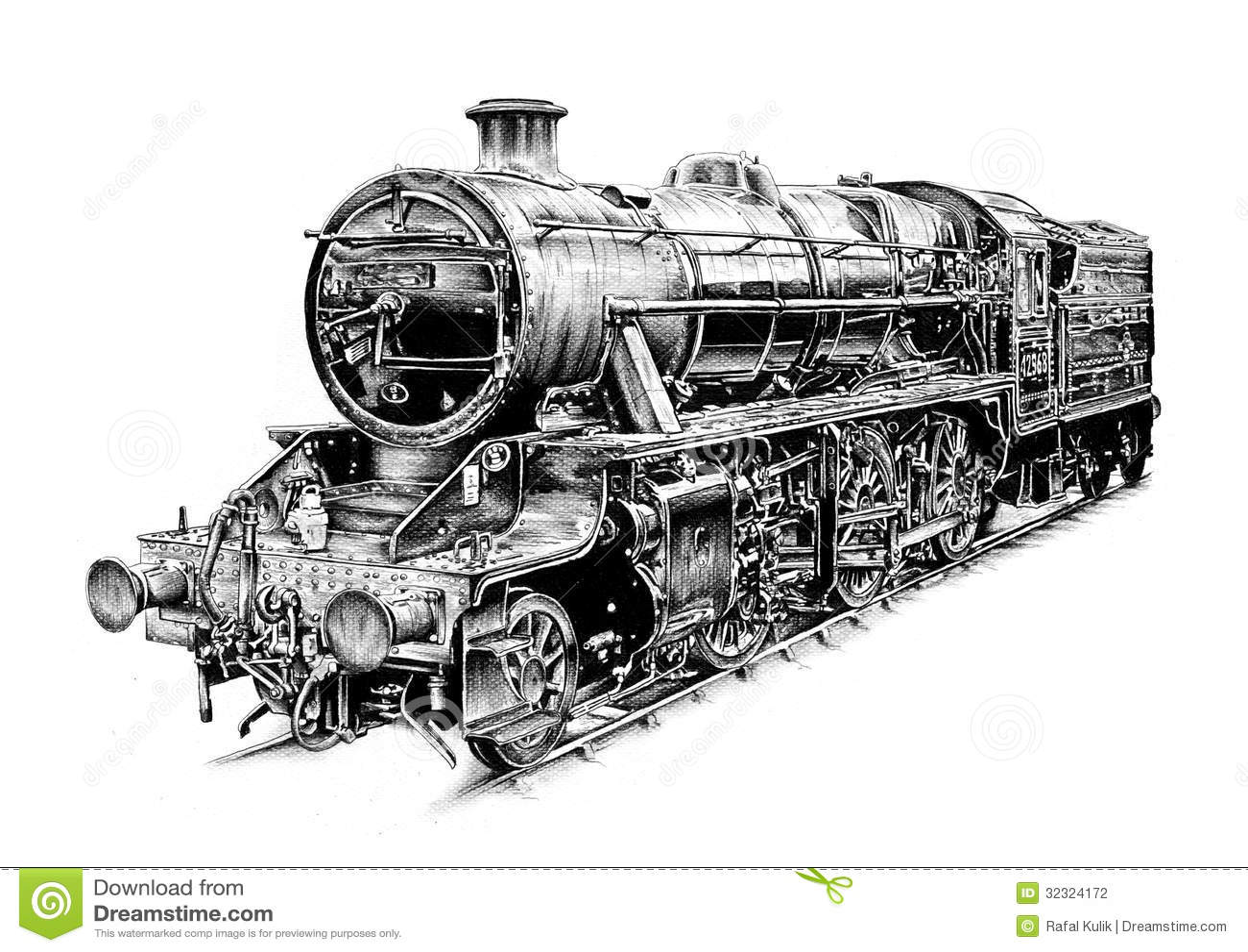 Art Design Drawing : Steam engine art design drawing stock illustration