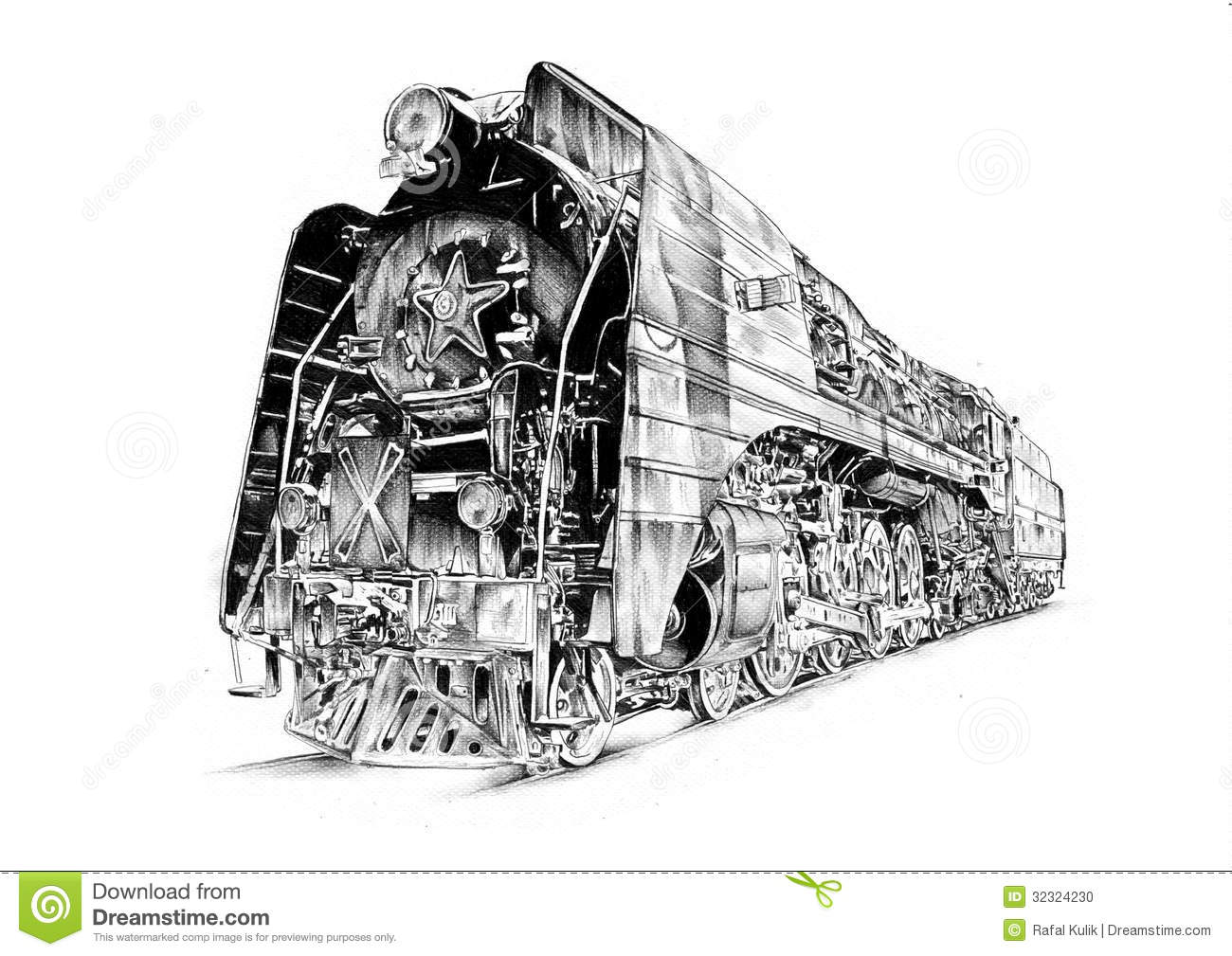 Art Design Drawing : Steam engine art design drawing stock photo image