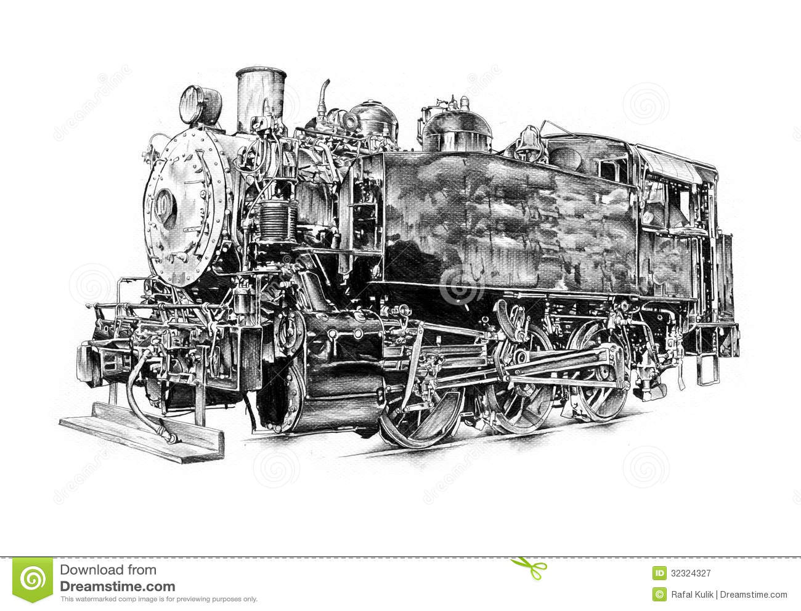 Art Design Drawing : Steam engine art design drawing stock illustration image