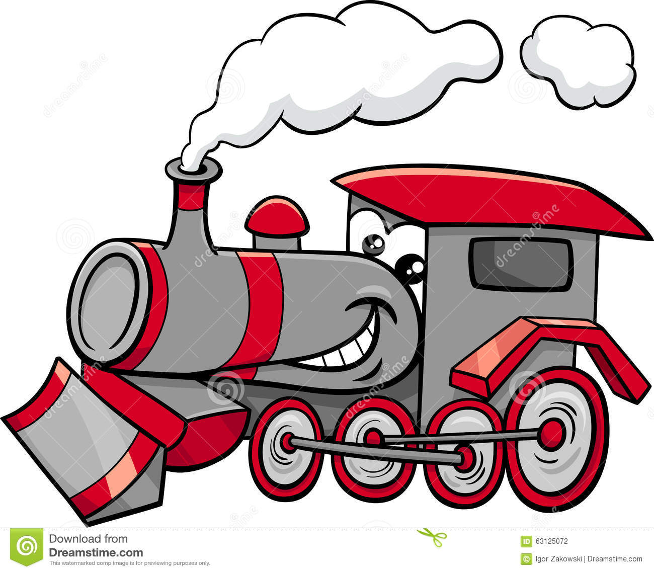 Steam engine cartoon character stock vector image