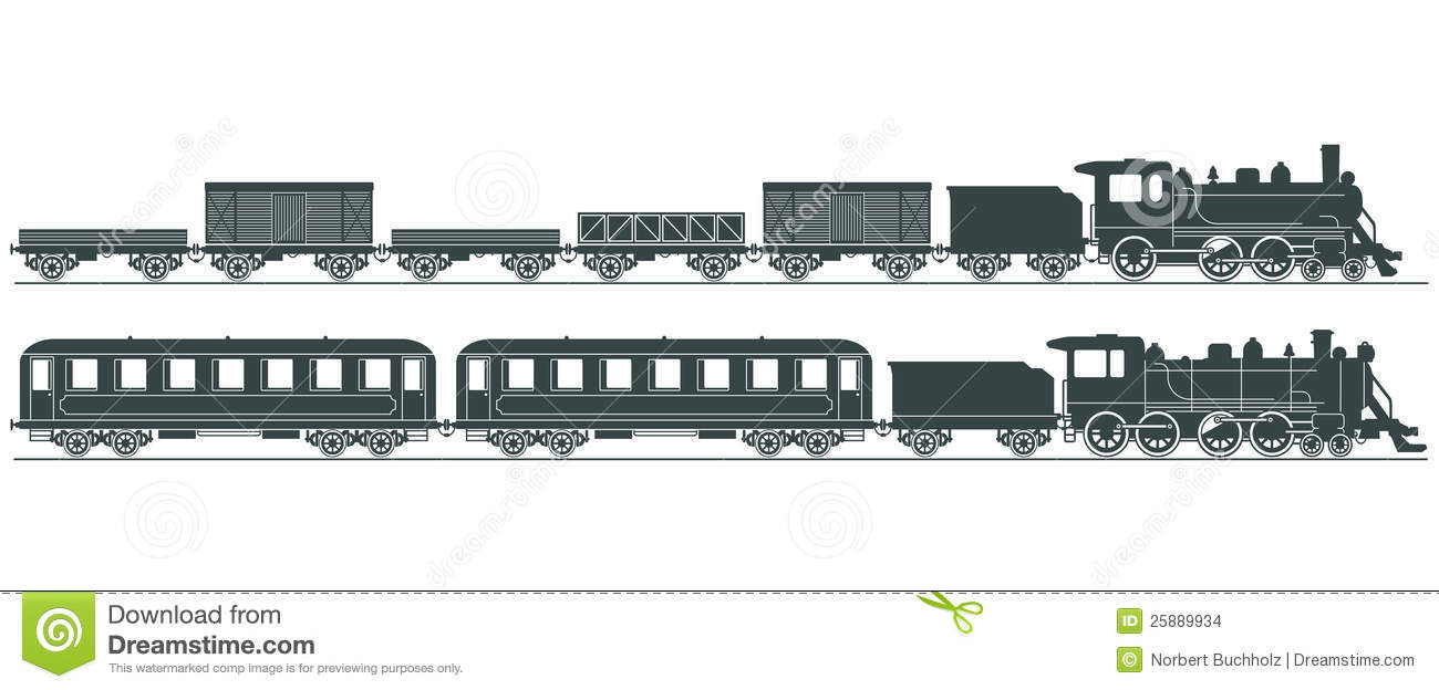 Black And White Steam Engines With Cars Carriages Illustration