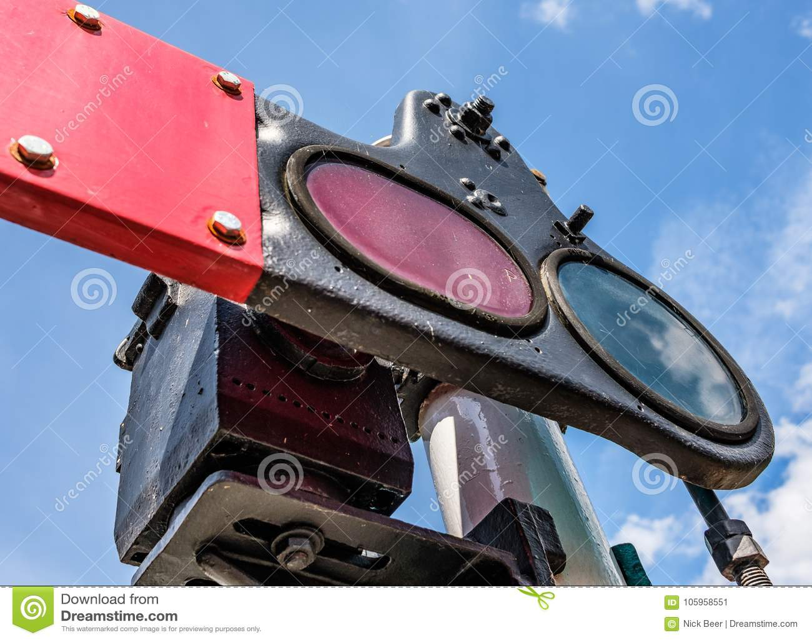 Steam Era Railway Signals Seen At A Railway Junction In The UK