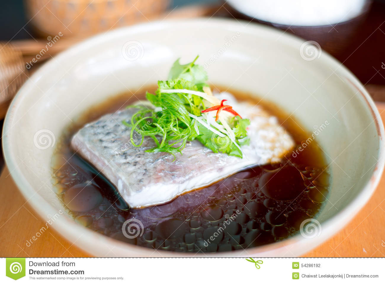 Steam fish in soy sauce stock photo image 54286192 for Soy sauce fish