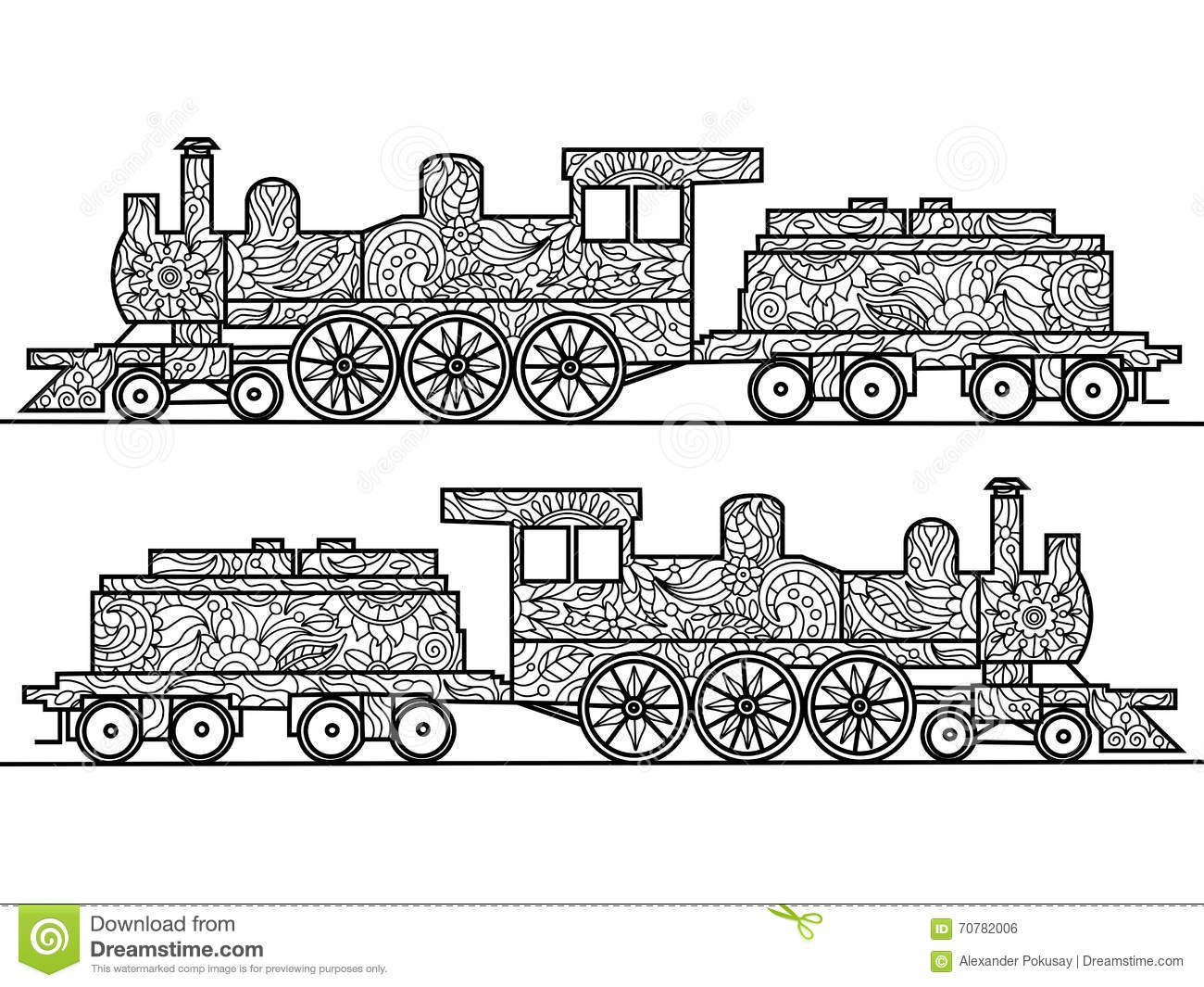 steam locomotive coloring book for adults vector stock vector