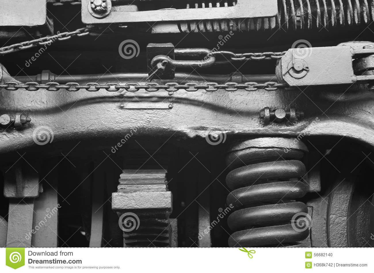 Steam locomotive machinery detail in black and white