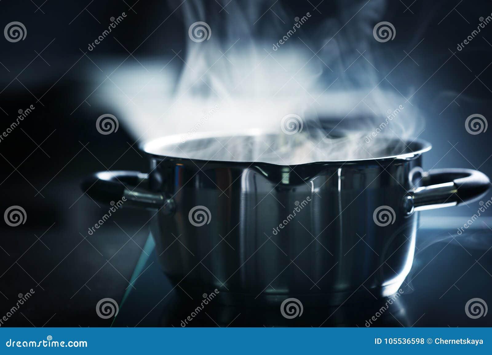 Steam over saucepan