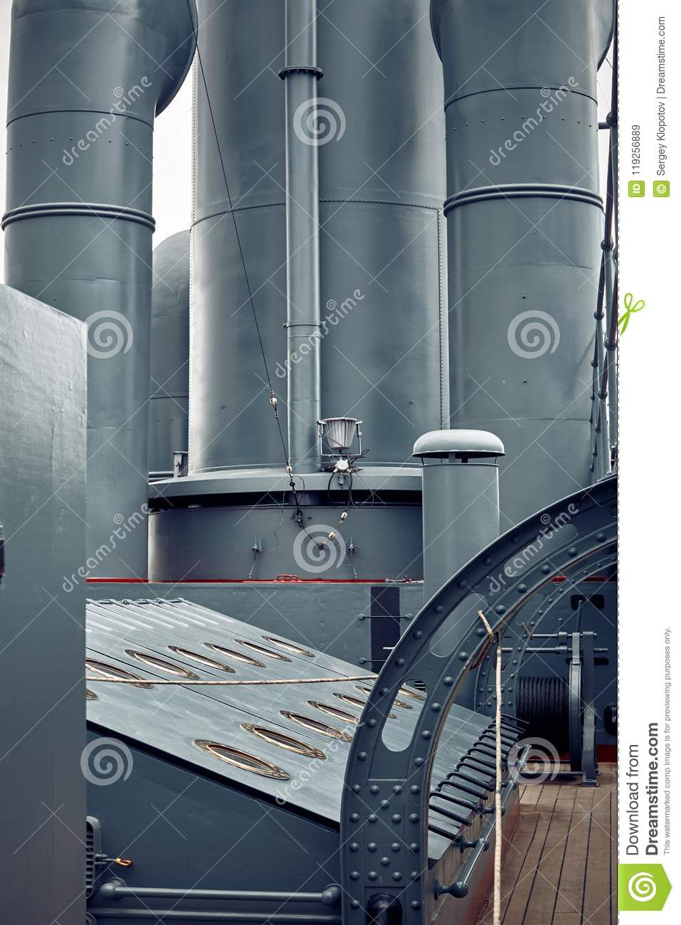 Steam Ship Engine Room: The Steam Pipes Of The Engine Room On The Upper Deck Of