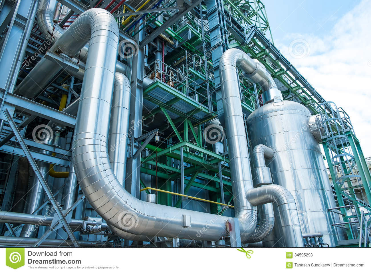 Steam Piping With Thermal Insulation Stock Image - Image of refinery ...