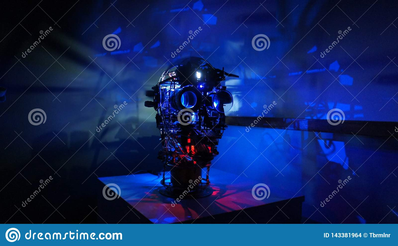 Steam punk metal robot head with blue background wide image
