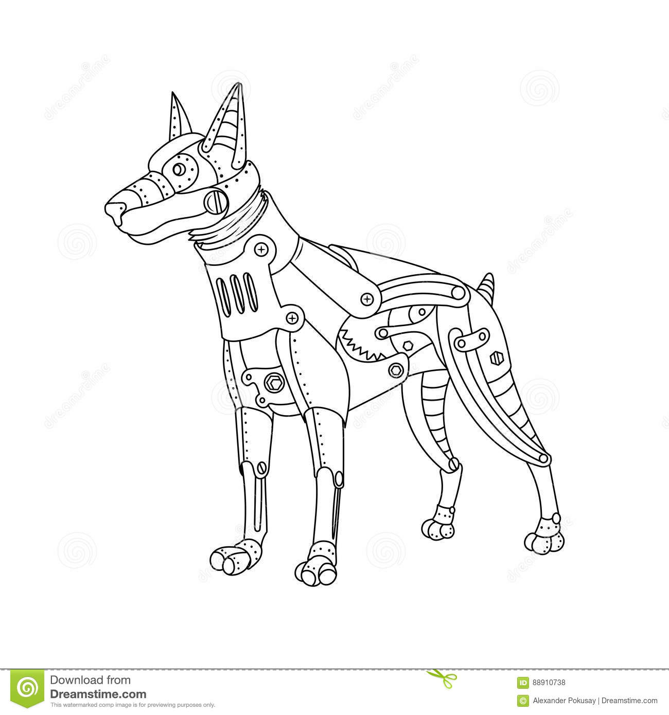 Steam Punk Style Doberman Dog Coloring Book Vector Stock Vector ...