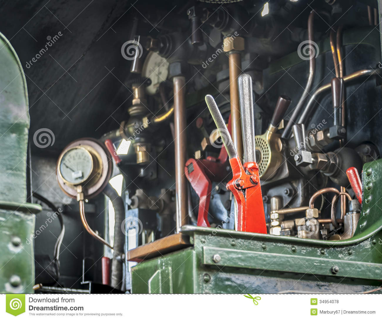 Train Control Lever : Steam train controls royalty free stock photos image