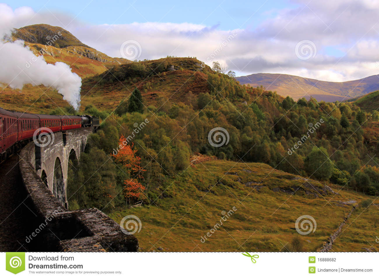 Steam train crossing Glenfinnan Viaduct, Scotland