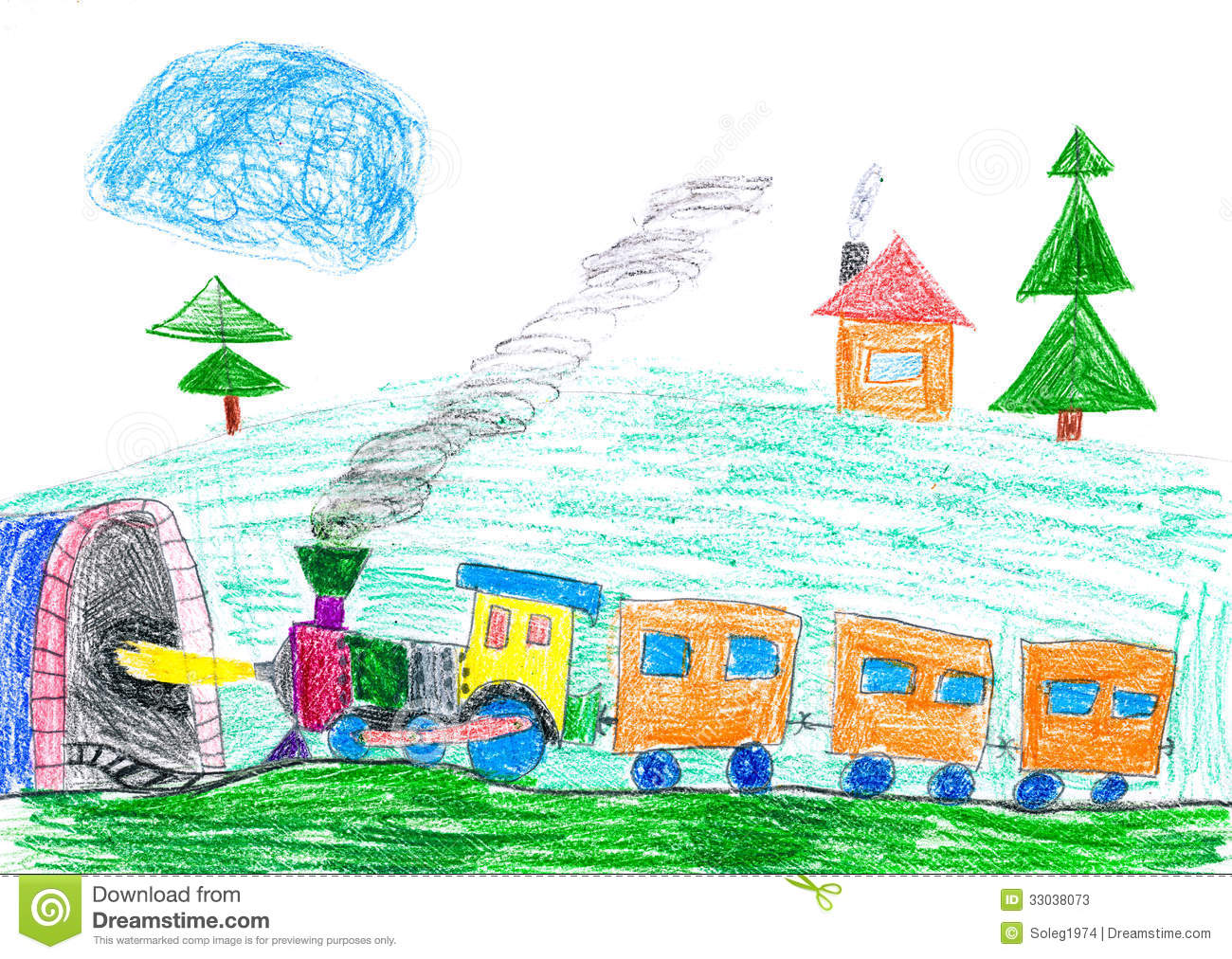 Steam Train Goes To The Subway Child S Drawing Stock Illustration