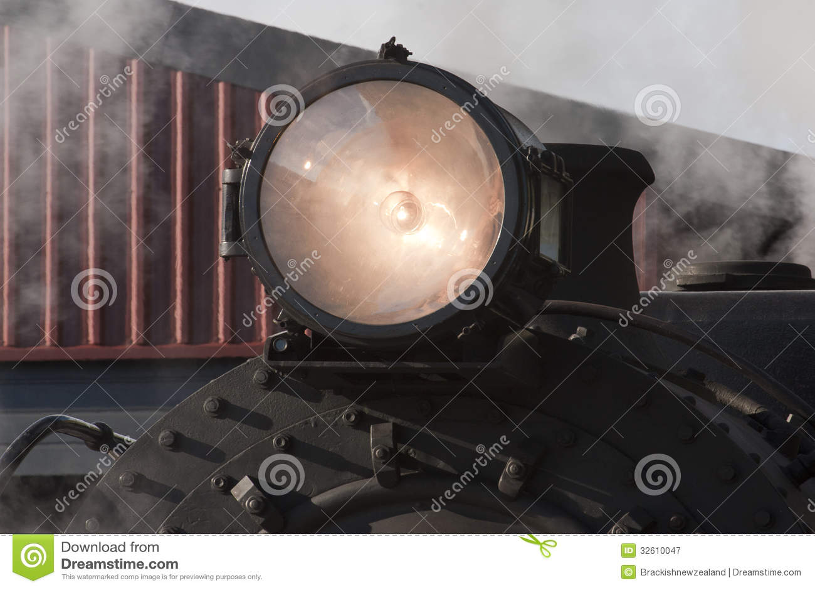 Antique Train Headlight : Steam train headlight stock image of bolts