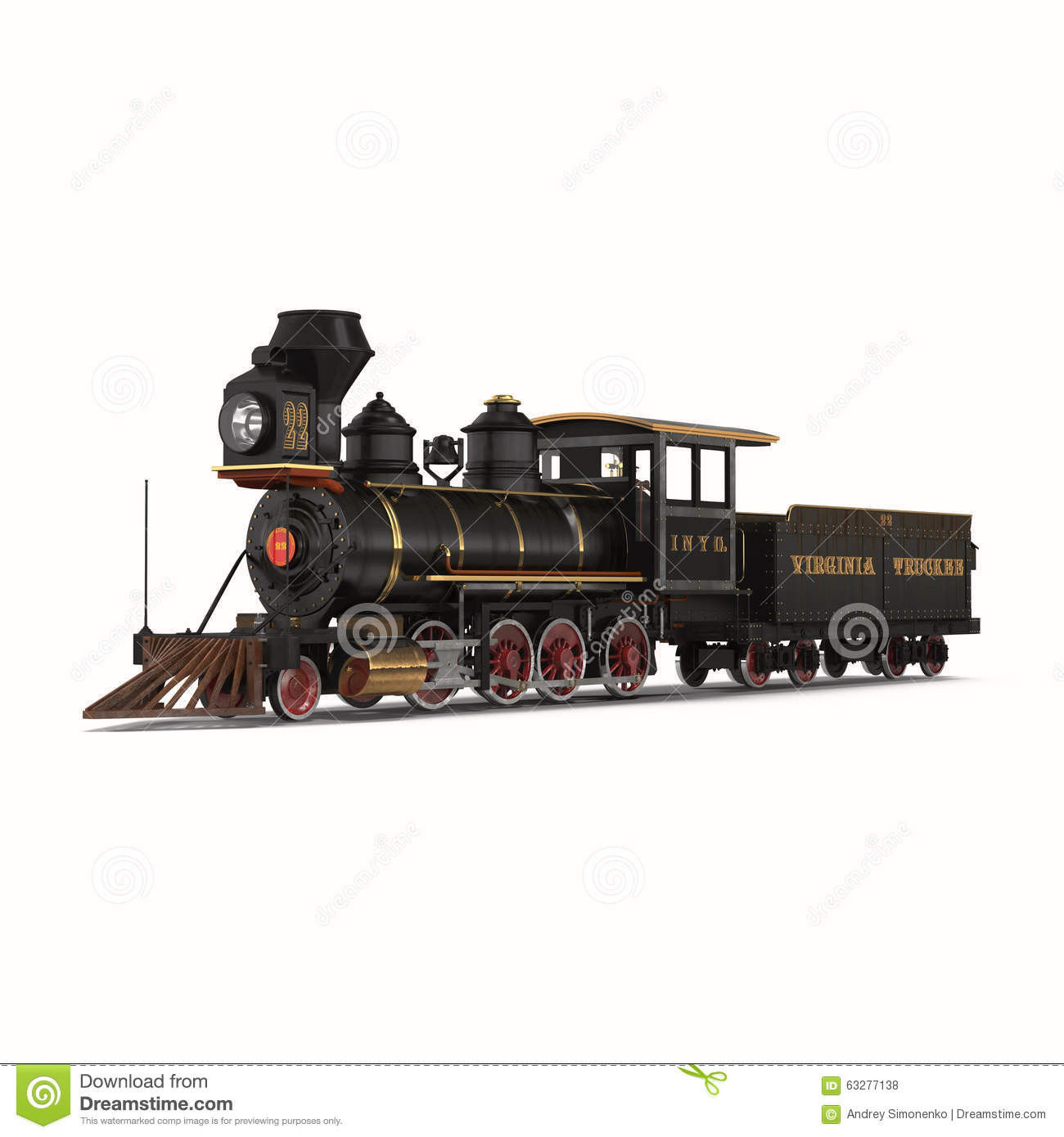 Steam Train With Wagon On White Background Stock Illustration