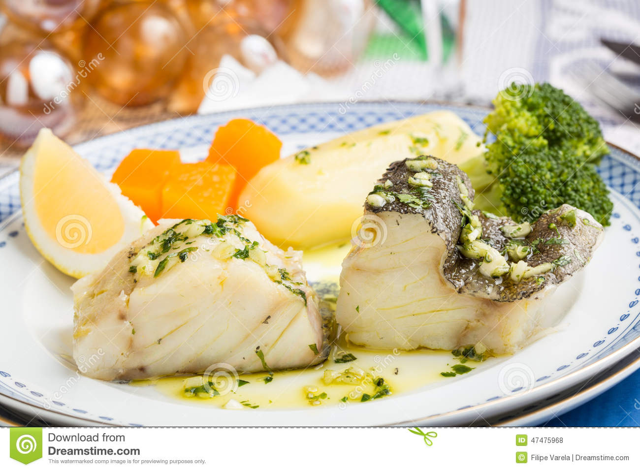 Steamed atlantic cod fish with olive oil and garlic stock photo ...