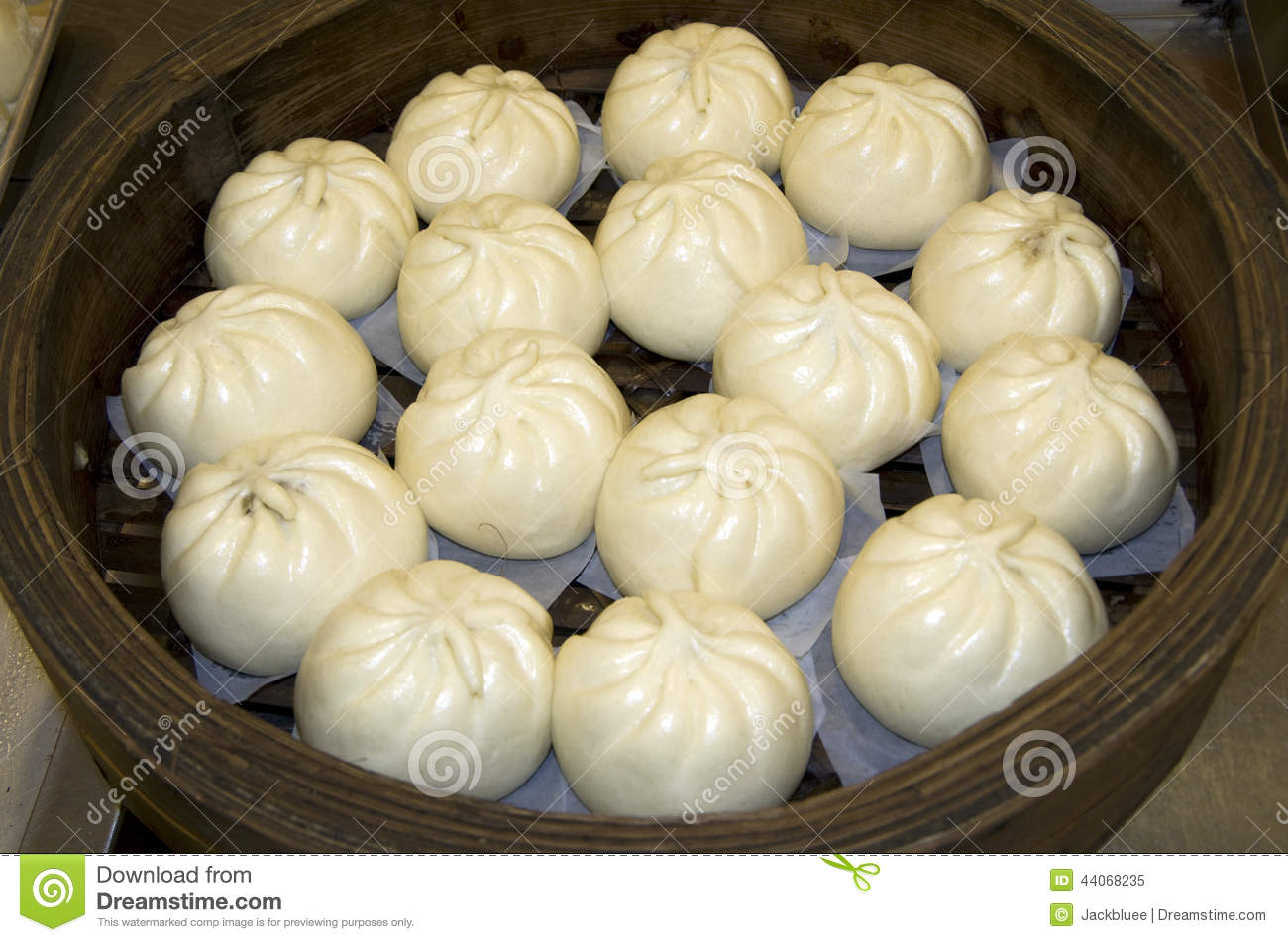 Chinese steamed buns in a Cantonese bakery and restaurant. It is ...