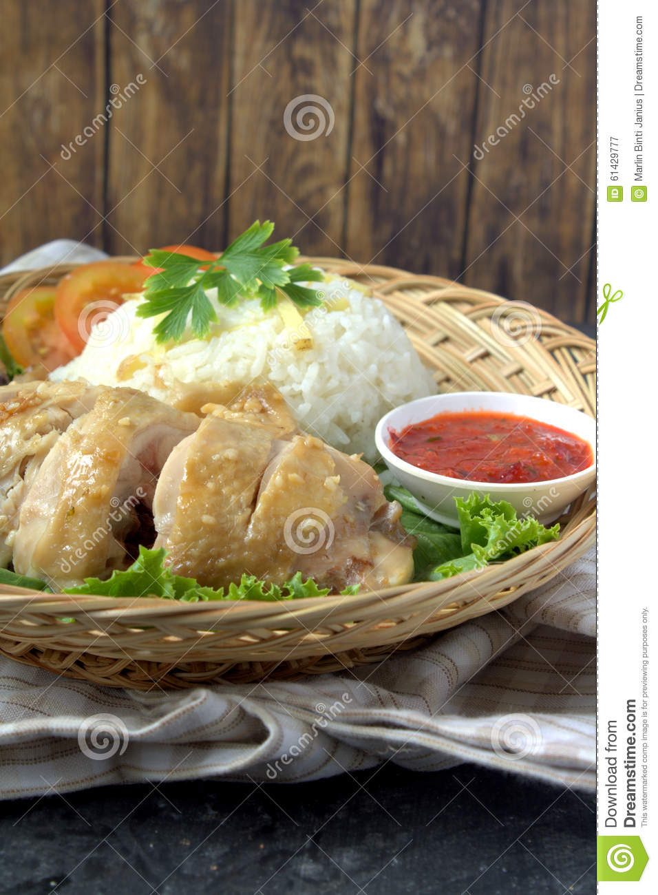 Steamed Chicken Rice Stock Photo - Image: 61429777