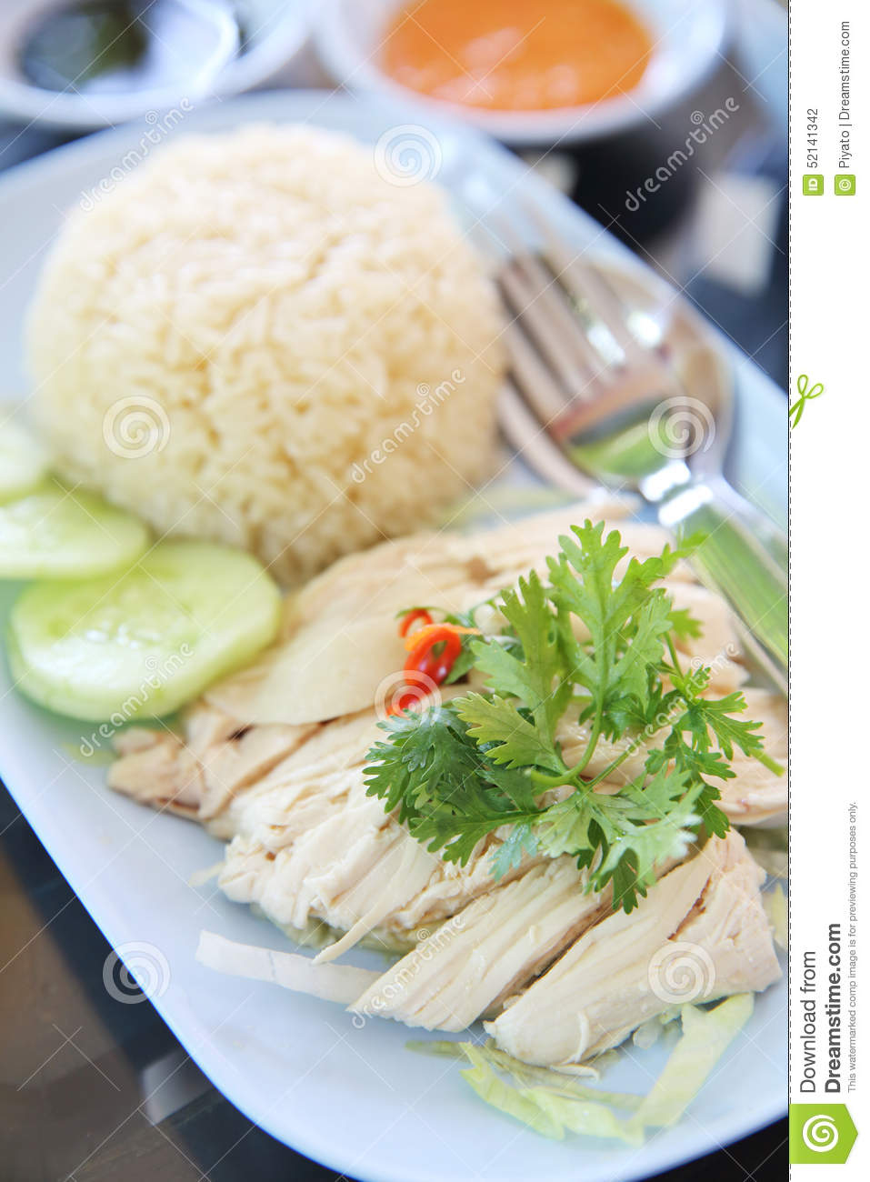 Steamed Chicken With Rice , Khao Mun Kai Stock Photo - Image: 52141342