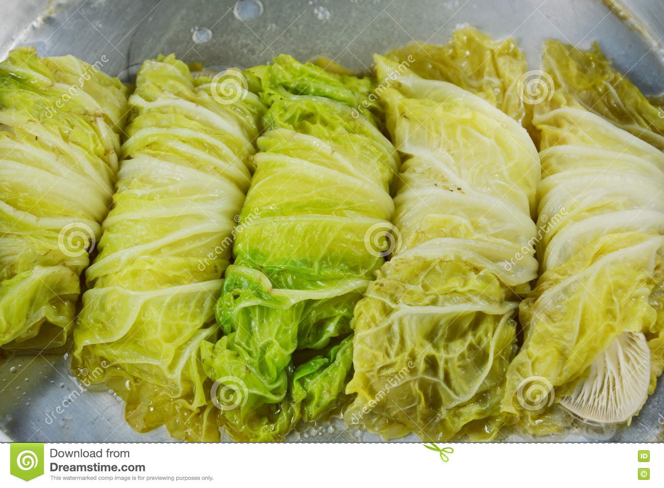 Steamed Chinese Cabbage Stuffed Chop Pork And Indian Mushroom On Pot Stock Photo Image Of Indian Vegetable 76447326