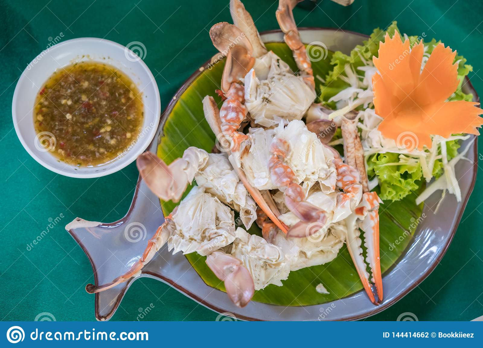 Steamed Crabs with salad and Thai spicy sauce.