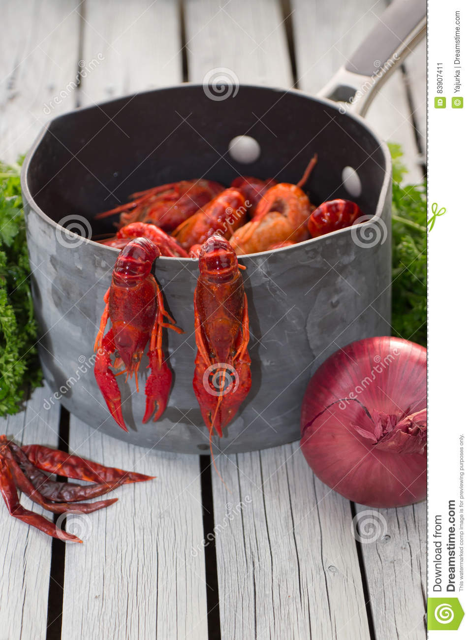 Steamed Crawfish Ready To Eat Boiled Crawfish Woden Background Rustic Style  Steamed Crawfish Ready To Eat