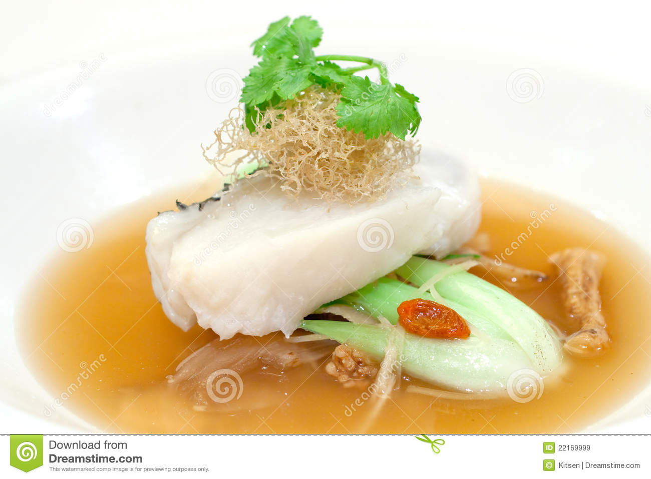 Steamed fillet of cod on a bed of vegetables royalty free for Cod fish in chinese
