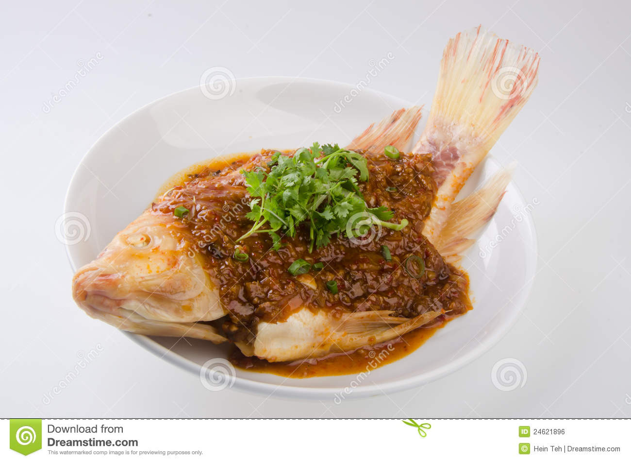 Steamed fish with chili soy sauce royalty free stock image for Soy sauce fish