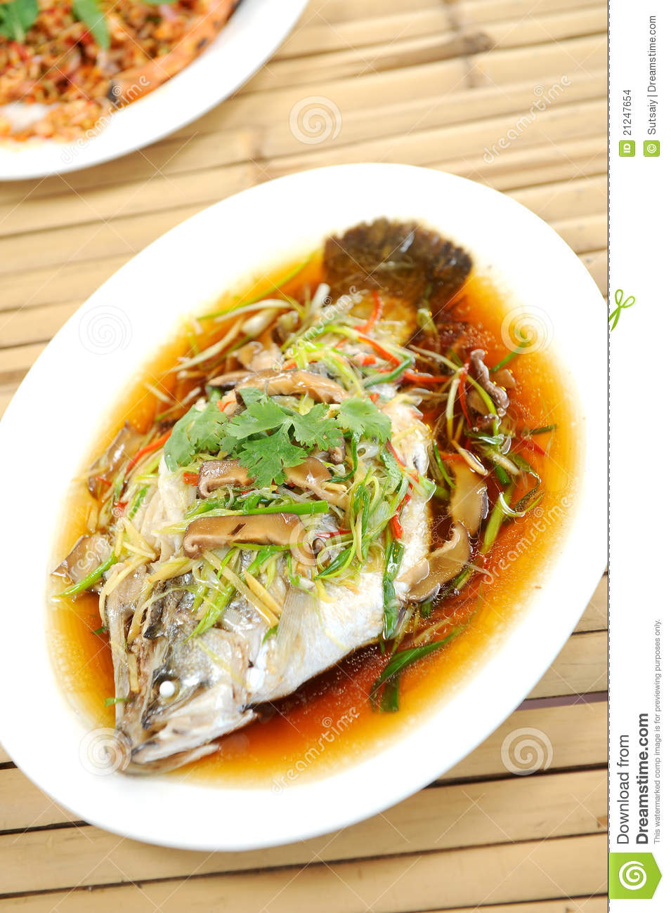 Download Steamed fish chinese style stock photo. Image of garlic - 21247654